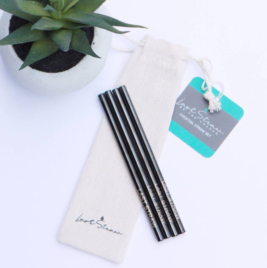 Black Cocktail Stainless Steel Straw Set