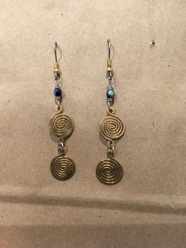 Double Brass Rounds w/Black+Blue Beads
