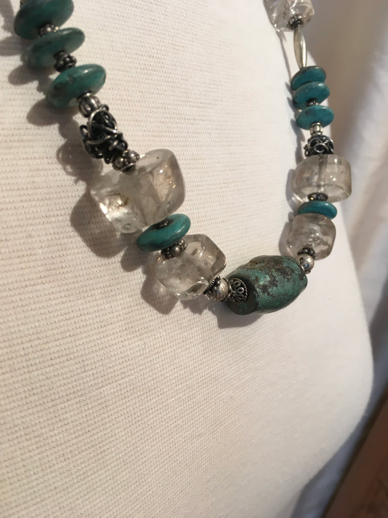 Quartz, Turquoise & Hand Woven Sterling Silver beads Necklace