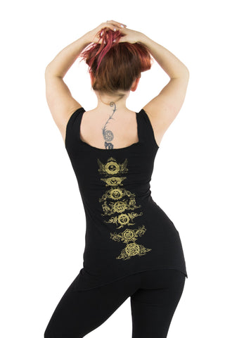 Anabelle Tank with Gold Honeycomb Flower Print
