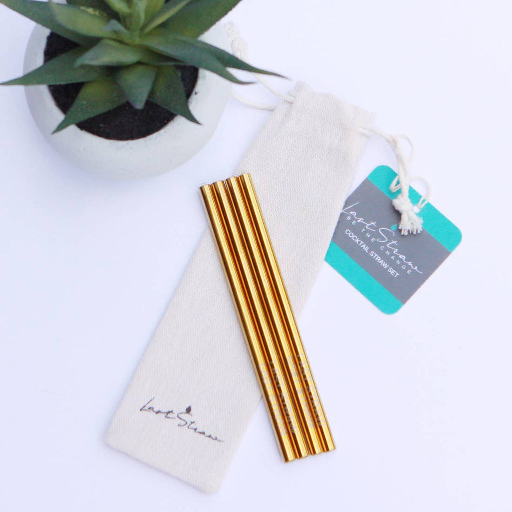 Gold Cocktail Stainless Steel Straw Set