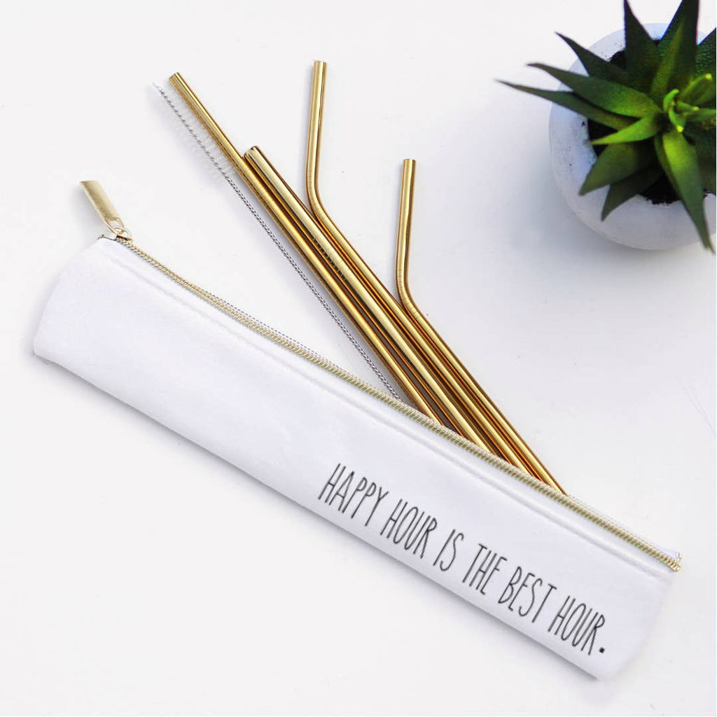 Happy Hour Metal Straw Set (Rose Gold)