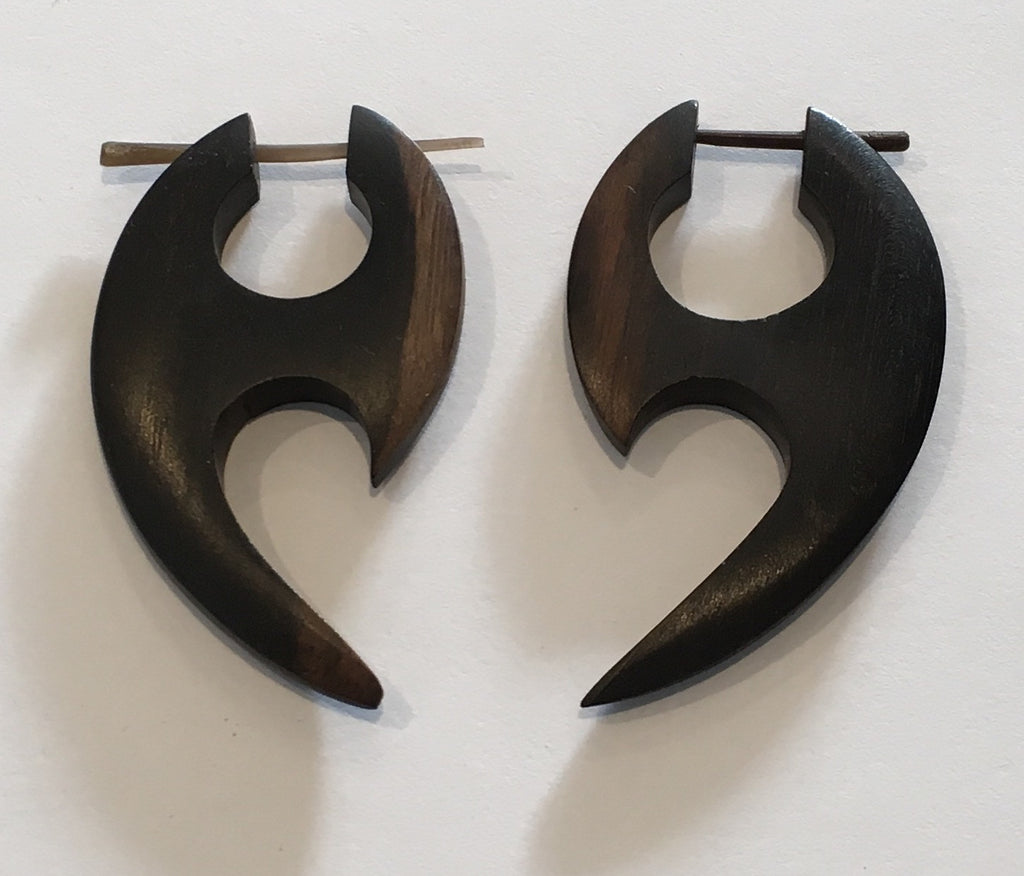 Stinger Earrings - Wood