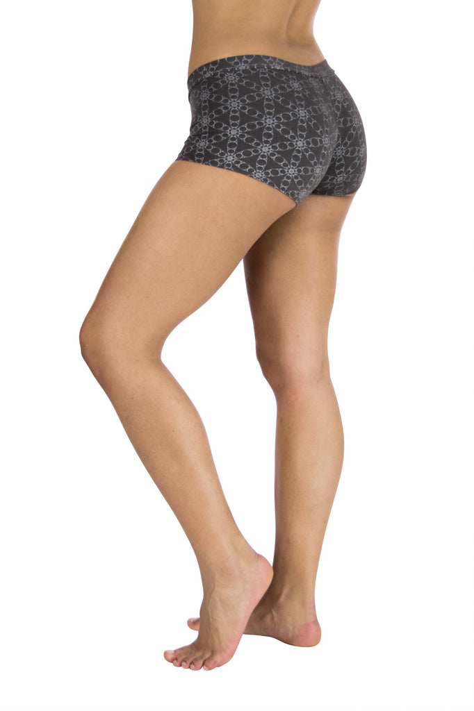 Kali Bootyshorts With Silver Circle Flower of Life Print