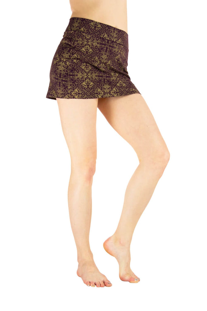 Maia Mini Skirt with Gold Jeweled Lotus print