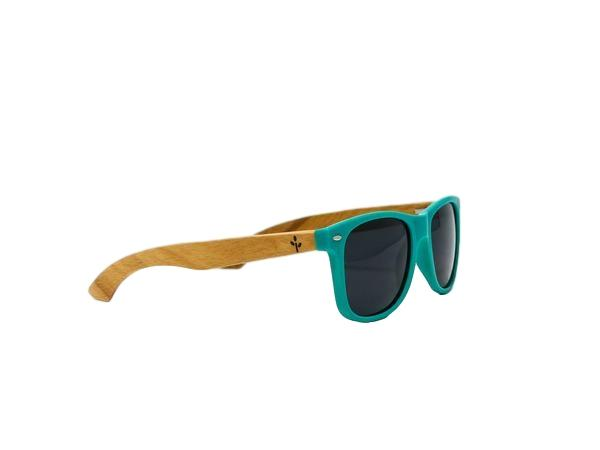 Teal Beach Wood Sunglasses