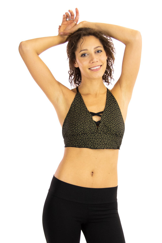 Vesta Yoga Bra with Honeycomb Print