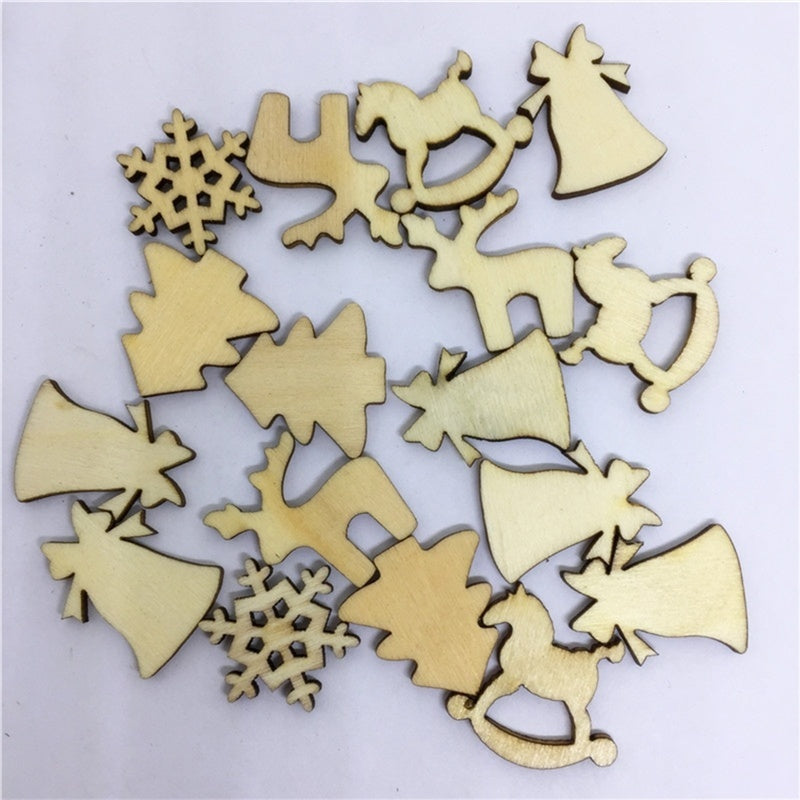 100 Pcs Wooden Ornaments Horse DIY Mixed Random Blank Snowflake Reindeer Ribbon Wood Ornaments Slices Tags for Wedding Xmas Party