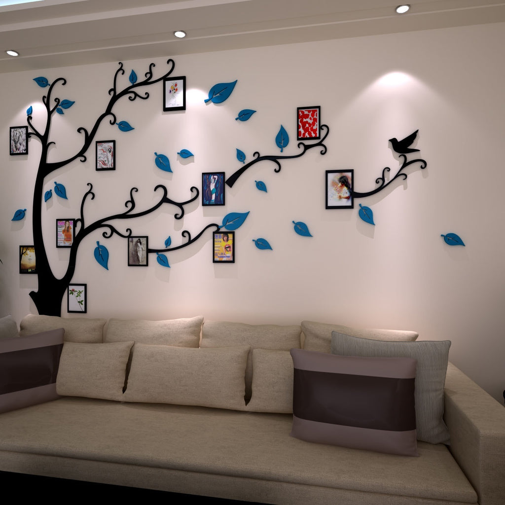 3D Mirror Frame Tree Creative Wall Murals Crystal Acrylic Stereo Wall Stickers Living Room TV Background Stickers Wall Decoration