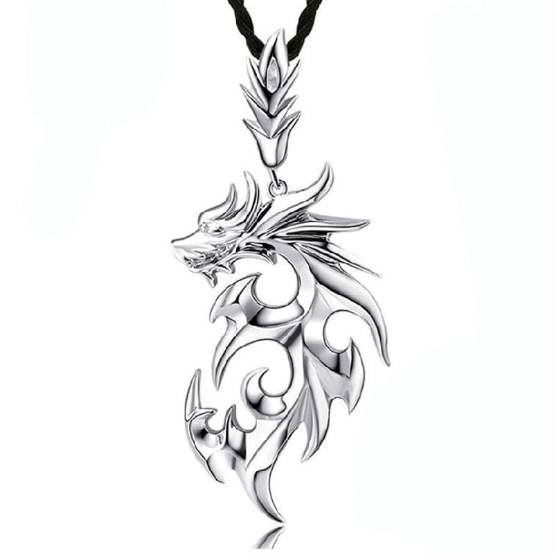 High Quality Men Silver Necklaces Dragon Pendant Necklaces Jewelry
