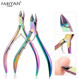 Nail Art Nippers Dead Skin Remover Cuticle Scissors Manicure Clipper Trimmer Finger Pedicure Plier Tools Stainless Steel Rainbow