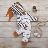 Infant Baby Girl Boy Feather Striped Romper Jumpsuit with Pocket Clothes Hat Set Looksnow