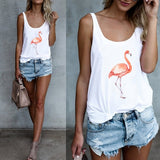 Women Summer Flamingo Printed Tops Sleeveless Leisure Loose Street Wear Vest