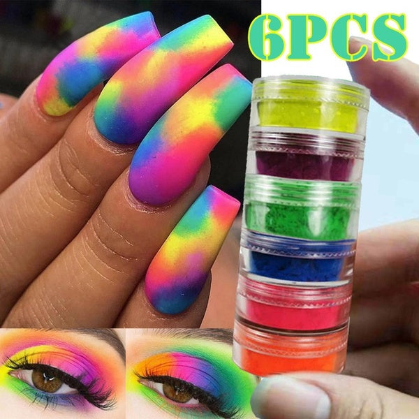 6Pcs/Set Neon Pigment Nail Powder Dust Nail Glitter Gradient Glitter Iridescent Acrylic Powder