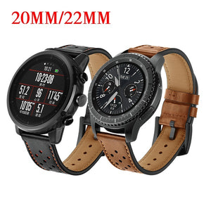 20mm 22mm watch band Genuine Leather Strap for Samsung Gear S2 S3 Frontier/Classic Xiaomi Huami Amazfit Pace/Stratos 2/1 Watchband For Samsung Galaxy watch Active 42mm 46mm For Huawei watch GT 2