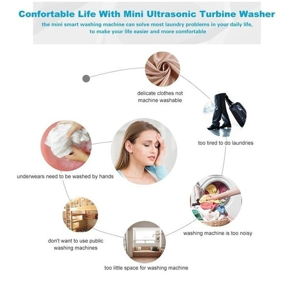Mini Washing Machine Portable Personal Rotating Ultrasonic Turbine Washer Adjustable with USB Cable Convenient for Travel Home Business Trip