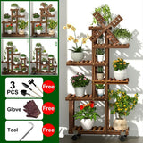 Windmill Design Corner Plant Stand Shelf Indoor Wood Flower Pot Rack Patio Planter Shelf Outdoor Bonsai Displaying Shelves for Garden Yard With/Without Wheel