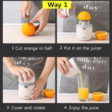 Two-way Mini Citrus Lemon Orange Juicer Manual Hand Squeezer with Built-in Measuring Cup and Grater