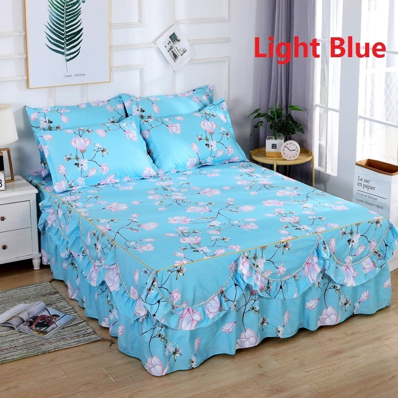 2019 Women Fashion Flower 8 Pattern Bedspread Bed Skirt with Arc hem  Bedcover Pillowcases (Size: Twin/Queen/King)