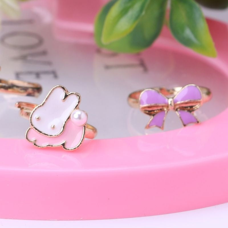 5/10PCS Fancy Adjustable Cartoon Rings Party Favors Kids Girls Action Figures Toy EJT