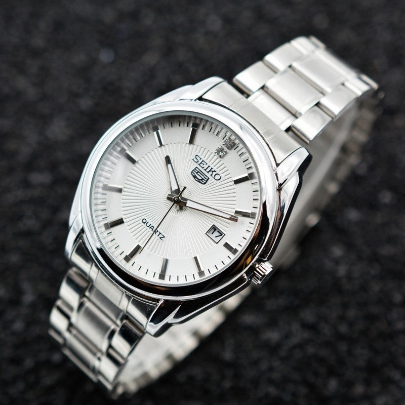 Luxury Men Date Quartz Watch Stainless Steel Band Watch Business Casual Wrist Watch Wth Box