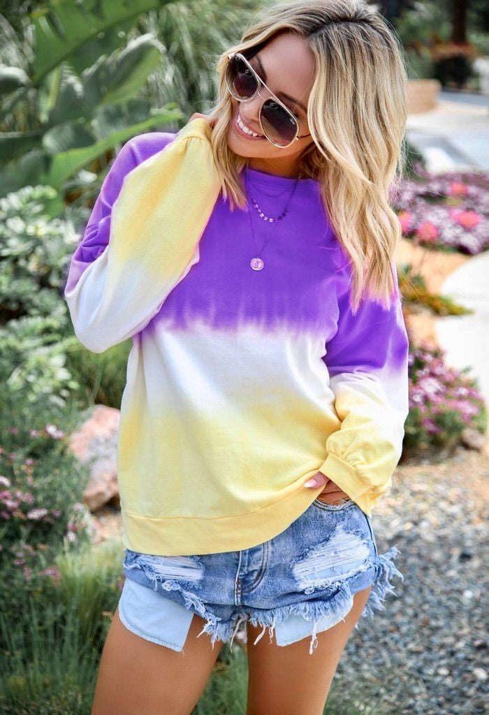 NEW Womens Autumn Casual Tops O-neck Long Sleeve Rainbow Gradient Color Blouses Cotton T-shirt Loose Sweatshirt Printing Pullover Plus Size XS-7XL