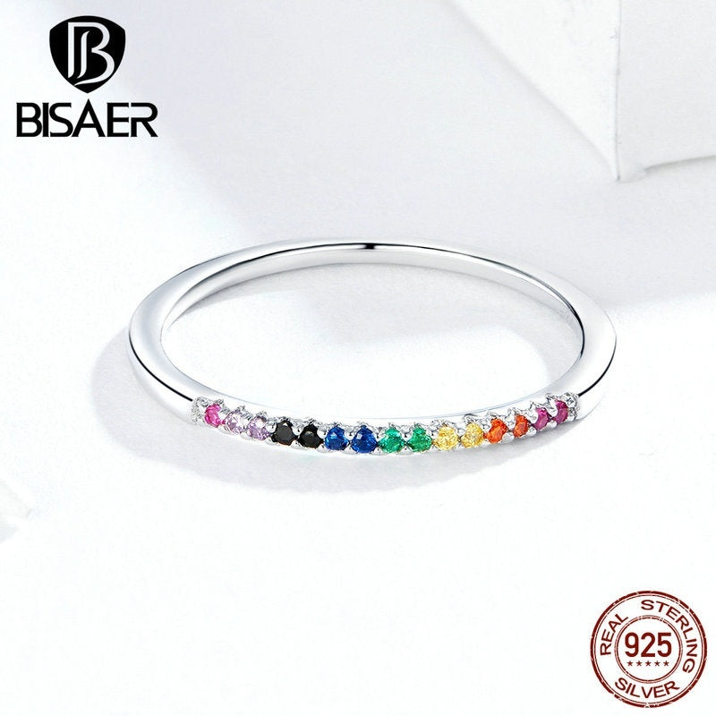 BISAER 2019 Fashion 925 Sterling Silver Colorful Zircon Stackable Rings for Women Wedding Jewelry Rings (size: 6 / 7 / 8)