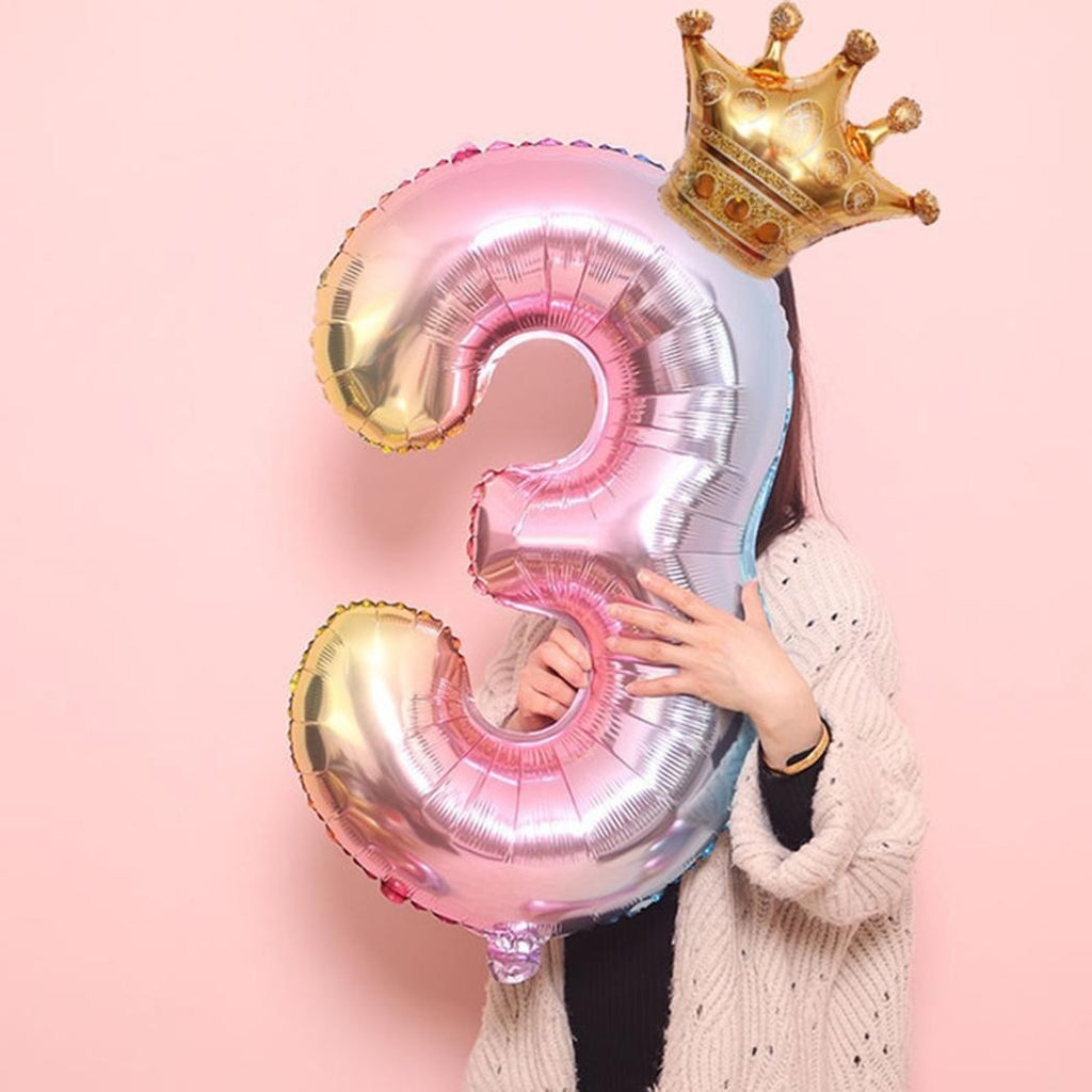 Number Crown Shape Children Aluminum Balloon Decoration For Birthday Party