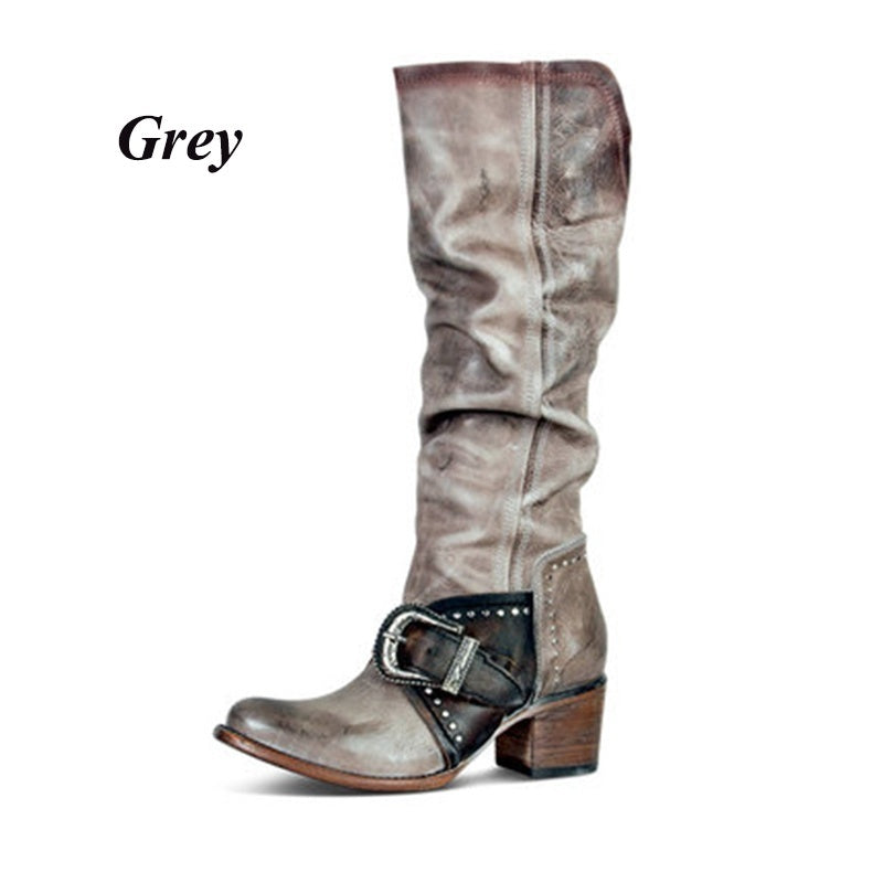 Women's Western Long Boots Fashion Vintage Mid Calf Cowboy Boots Women Low Heel Jeans Boots Leather Pointed Toe Casual Boots Riding Shoes Plus Size Botas Feminina