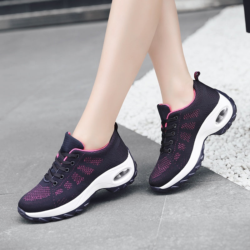 women platform wedge cushion sport trail running shoes mesh breathable comfort ladies athletic tennis walking shoes
