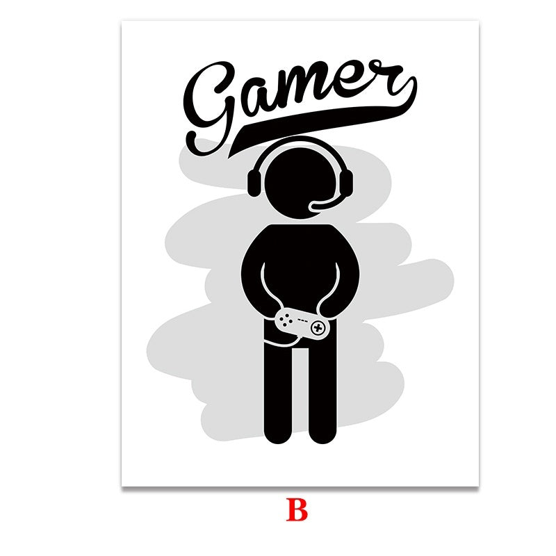 Boys Game Print Poster Illustration Art Gamer Quotes Canvas Print Home Wall Art Kids Room No Frame