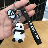 Creative Cartoon Geometry Face Dinosaur Panda Doll Keychain Couple Car Key Chain Backpack Hanging Gift Motorcycle Key Chain
