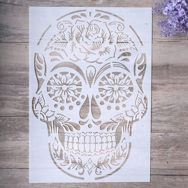 4pc/set A4 Size DIY Craft Layering Skull Stencil For Wall Painting Scrapbooking Stamping Stamp Album Decorative Embossing Paper Card