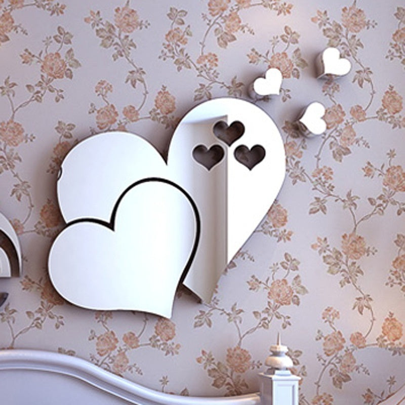 Home Decor Living Room 3D Mirror Love Hearts Wall Sticker Decal DIY Home Room Art Mural Decor Removable