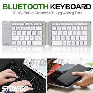Foldable Bluetooth Keyboard, Portable Wireless Keyboards with Rechargeable Full Size Ultra Slim Folding BT Silent Key Board STONEGO Electronic Accessories for I-Produts Android Windows Smartphones Tablets and Laptops