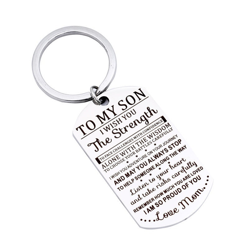 New TO MY SON I WISH YOU The Strength Stainless Steel Polished Keychain Big Soldier Military Pendant Necklace
