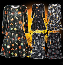 Load image into Gallery viewer, New Women Ladies Long Sleeve Dress Halloween Swing Skull Web Pumpkin Printed Dress