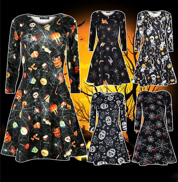 New Women Ladies Long Sleeve Dress Halloween Swing Skull Web Pumpkin Printed Dress
