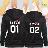 New Fashion Women Best Friends Sister Hoodie Casual Short Sleeve Funny Bitch Letter Printed Hooded Sweatshirts Bff Pullover Tops