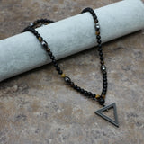 New Design 6Mm Tiger Stone Bead Black Men'S Hematite Triangle Agate Pendants Long Necklace Fashion Jewelry