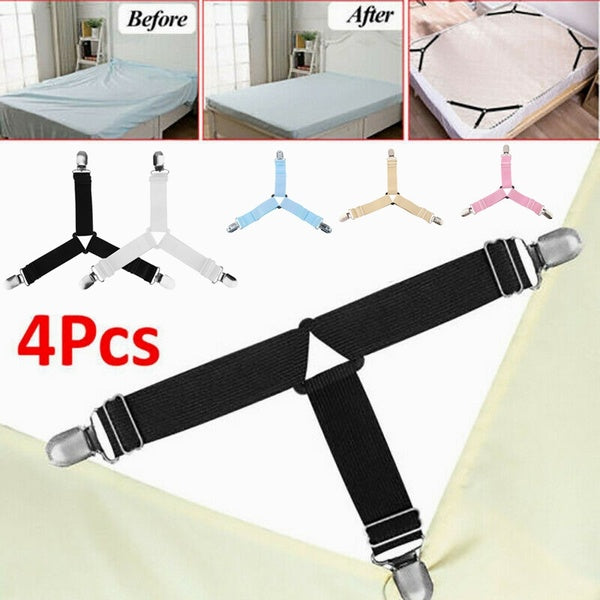 4pcs Adjustable Triangle Bed Mattress Sheet Holder Straps Clips Gripper Fasteners