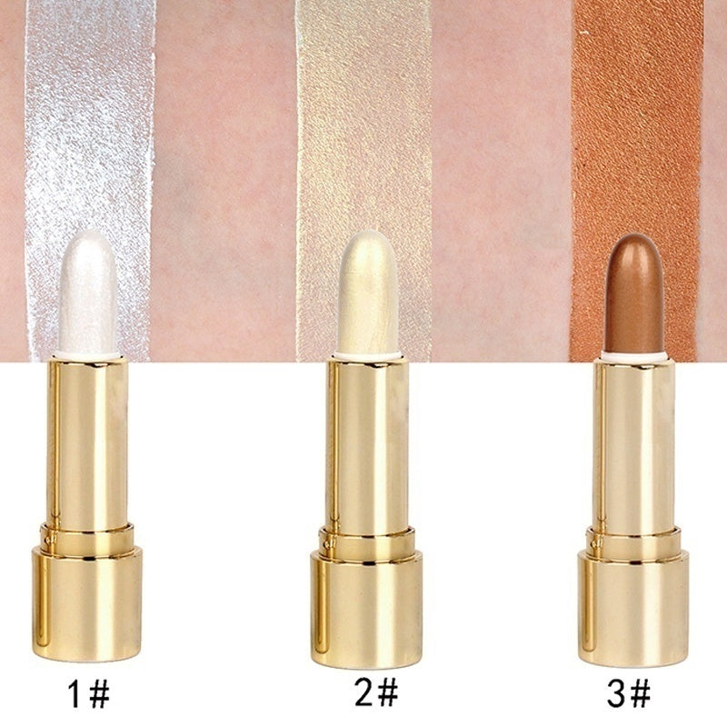 3 Colors Brighten Highlighter Bar Cosmetic Face Contour Bronzer Shimmer Highlighter Stick Gold Glow Kit Concealer Cream