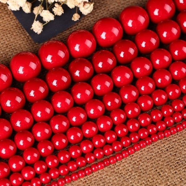 Red Natural Coral Gemstone Round Spacer Beads 16   4mm 6mm 8mm 10mm 12mm