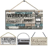 12 Styles Welcome Please Seat Yourself Christmas Wedding Printed Wooden Plaque Sign Wall Hanging Welcome Sign