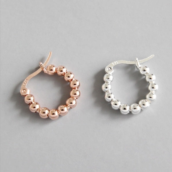 Women Fashion Bardian 925 Sterling Silver Beads Style Hoop Earrings