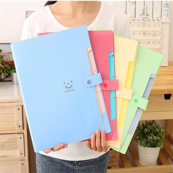 6 Colors Kawaii Carpetas Stationery Carpeta File Folder 4 layers Archivadores Anillas A4 Document Bag Office Supplies Color Red Yellow Purple Green Light Blue Pink