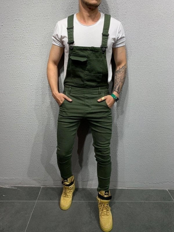 Pure 6 Color Men Overalls Denim Jumpsuits Men Streetwear Jeans Working Long Pants Plus Size