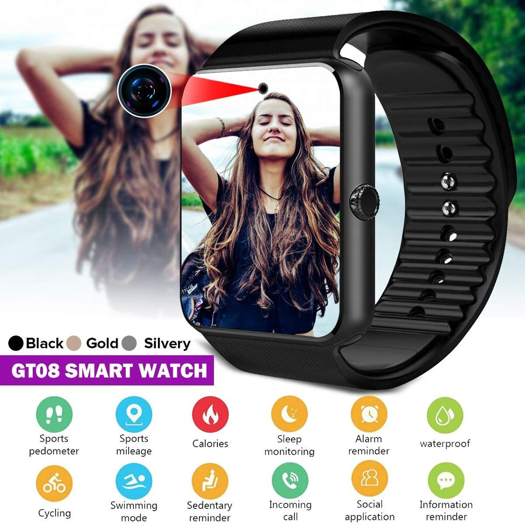 2019 New GT08 Bluetooth Smart Watch Sports Fitness Tracker SD Card SIM Card Smartwatch Phone Pedometer Sleep Monitor