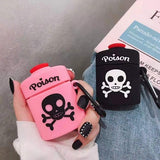 1*Cartoon Poison Bottle Skeleton Soft Silicone Case Protective Cover for Airpods