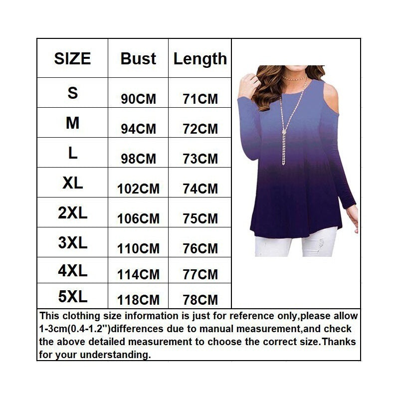 NEW Autumn and Winter Women Long Sleeve Top Off the Shoulder Shirt Printed Rainbow Gradient Plus Size T-Shirt Top